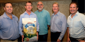 The winning entry was very much a team effort. Taking pride in their collaboration are Garth Hobson (Botselo Holdings), Bruce Pender-Smith (DBC Wovens), Johann Uys (Silverrocket Creative), Adrian Hobson (Botselo Holdings) and Jamie O'Neill (Repro Flex).